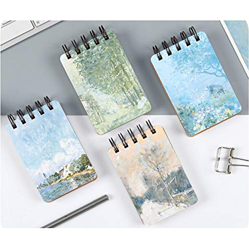 Siixu Sisley Pocket Spiral Notepads, Small Coil Memo Pads/Notebooks, Hardcover Compact Journals, A7 Flip Notebooks Set, Unique Beautiful Designed, Mini, Pack of 4, Quad, College Ruled