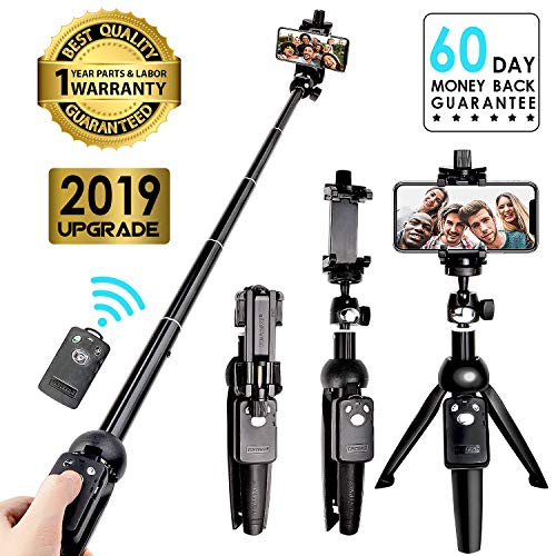 Selfie Stick Tripod Bluetooth,Extendable Flexible Selfie Stick Tripod with Detachable Wireless Remote,Compatible with iPhone Xs Max/XS/XR/iPhone X/iPhone 8/8Plus/iPhone 7/iPhone 6/6s/6 Plus/Galaxy