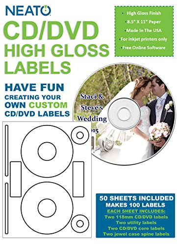 Neato CD/DVD High Gloss Labels – 50 Sheets – Makes 100 Labels Total - Online Design Label Studio Included