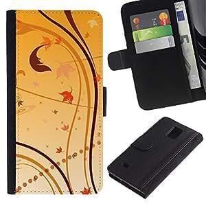 """Samsung Galaxy Note 4 IV / SM-N910 , la tarjeta de Crédito Slots PU Funda de cuero Monedero caso cubierta de piel ("""" Wallpaper Nature Leaves Autumn Yellow"""")"""