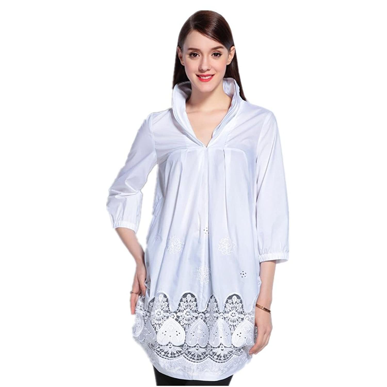 SHISHANG T-Shirt mit langen Ärmeln T-Shirt aus 100% Baumwolle kurze Ärmel Größe V-Ausschnitt Sommer weiß und schwarz