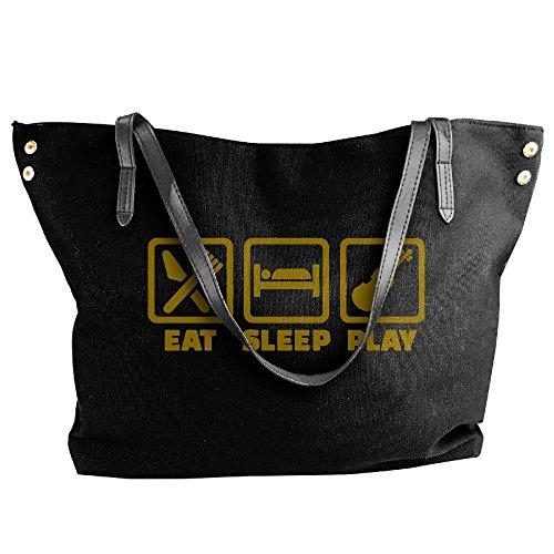 Violin Handbag Eat Sleep Bags Canvas Large Shoulder Large Black Women's Capacity Tote Play Xx8pTUq