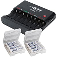 ANSMANN Powerline 8 AAA & AA Smart Battery Charger for AA, AAA Rechargeable Batteries w. Discharge function and USB-Port (e.g. for iPhone, Android) + 8-Pack maxE pro AA Batteries + 2x Battery Box