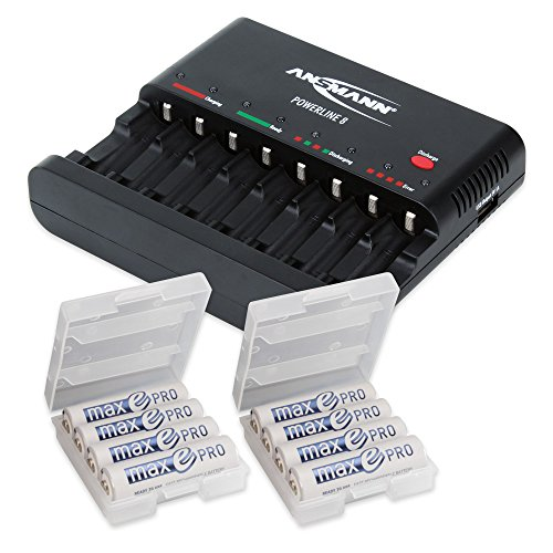 ANSMANN Individual Cell Battery Charger Powerline 8 for NiMH Rechargeable Batteries AAA & AA with USB Port for Smartphone - 8 Bay Universal recharger Plus 8-Pack maxE PRO Double A Batteries & 2 Boxes