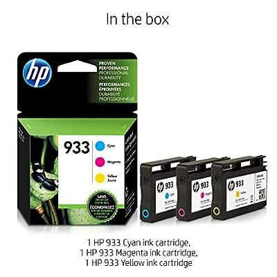 HP N9H56FN 933 Cyan, Magenta & Yellow Original Ink Cartridges, 3 Cartridges (CN058AN, CN059AN, CN060AN) for Officejet 6100, 6600, 6700, 7110, 7510, 7610, 7612