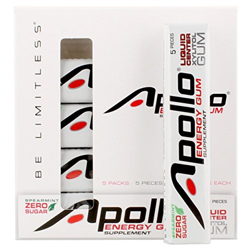 Apollo Energy Gum Supplement - Spearmint (5 packs of 5) | 25 pieces = 125 hours of energy by Apollo