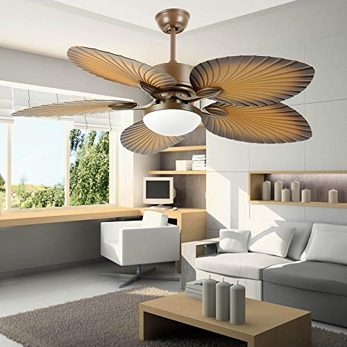 AndersonLight Fan Tropical Palm Ceiling Fan, Five Palm Leaf Blades With LED Light, New Bronze, 52-Inch ()