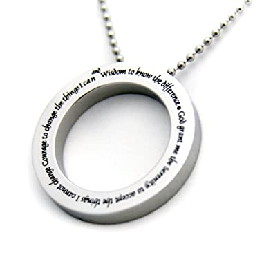 Amazon serenity prayer disc pendant necklace inspirational serenity prayer disc pendant necklace inspirational necklace 12 step necklace serenity prayer jewelry mozeypictures Image collections
