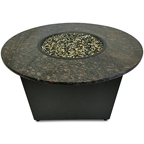 Cheap Santiago Fire Pit Table – 42″ Round – Tan Brown Granite – Bronze Base Enclosure – Earth Blend Fire Glass – Made in America