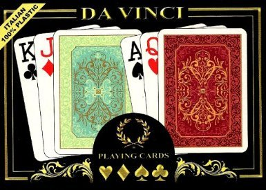 Da Vinci Persiano Italian 100-Percent Plastic Playing Cards (2-Deck Set Poker Size Jumbo Index with Hard Shell Case and 2 Cut Cards), Green/Red by Da Vinci