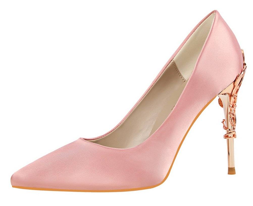 T&Mates Womens Elegant Versatile Satin Pointed Toe Plated High Heel Wedding Dressy Pumps Shoes (8 B(M) US,Pink)