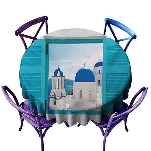 Spillproof Tablecloth,Landscape Window with View of Classical Building with Blue Domes Oia Santorini Greece,for Banquet Decoration Dining Table Cover,40 INCH,Aqua Blue White
