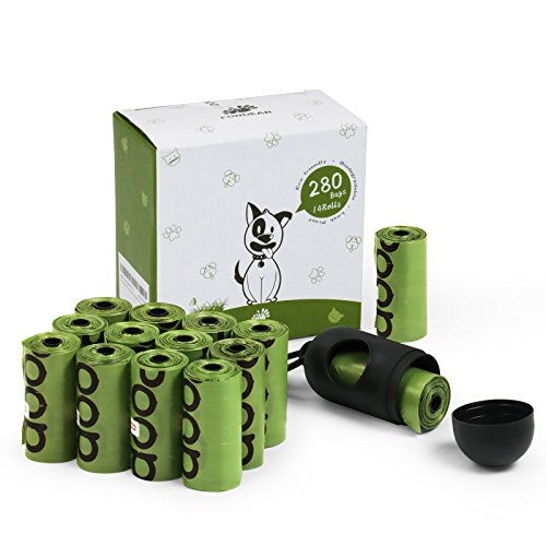 Fondear Pet Trash Waste Disposal Dog Poop Bags with Bone Dispenser