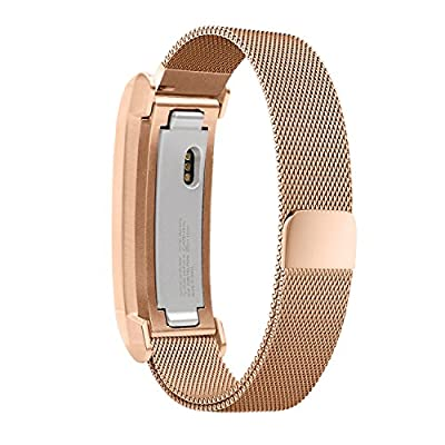 For Fitbit Alta HR Bands, UMTELE Replacement Stainless Steel Metal Strap with Unique Magnet Lock for Fitbit Alta, Fitbit Alta HR, Rose gold