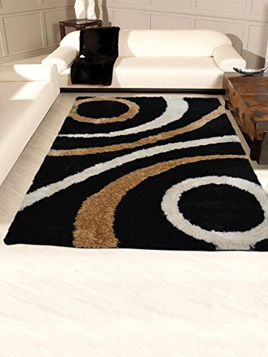 Rugsotic Carpets Hand Tufted Shag Polyester 8' X 10' Area Rug Geometric Black K00002 from Rugsotic Carpets