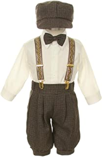Vintage Dress Suit-Bowtie,Suspenders,Knickers Outfit Set for Boys Toddler, Houndstooth-Dark Taupe/Ivory, 3T