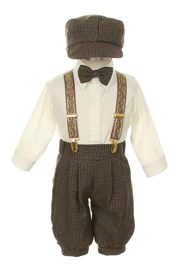 Victorian Kids Costumes & Shoes- Girls, Boys, Baby, Toddler Vintage Dress Suit BowtieSuspendersKnickers Outfit Set-Houndstooth-Brown $39.99 AT vintagedancer.com