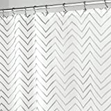 Silver Shower Curtain mDesign Long Decorative Metallic Pattern, Water Repellent, Fabric Shower Curtain for Bathroom Showers and Stalls, Machine Washable - Chevron Zig-Zag Print, 72