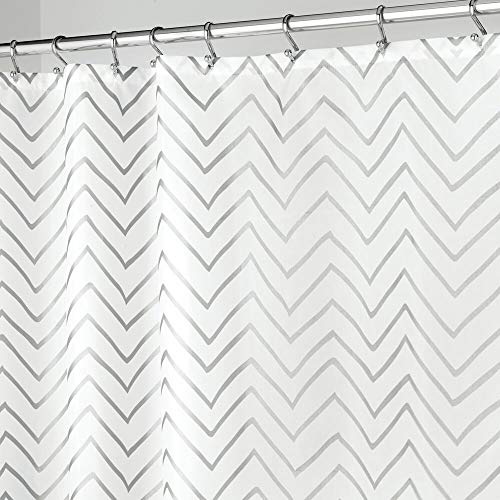 mDesign Long Decorative Metallic Pattern, Water Repellent, Fabric Shower Curtain for Bathroom Showers and Stalls, Machine Washable - Chevron Zig-Zag Print, 72