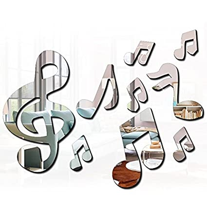 Ximei Modern Acrylic Mirror Music Note Home Decoration DIY Art Sticker Wall  Decals For Bedroom Living