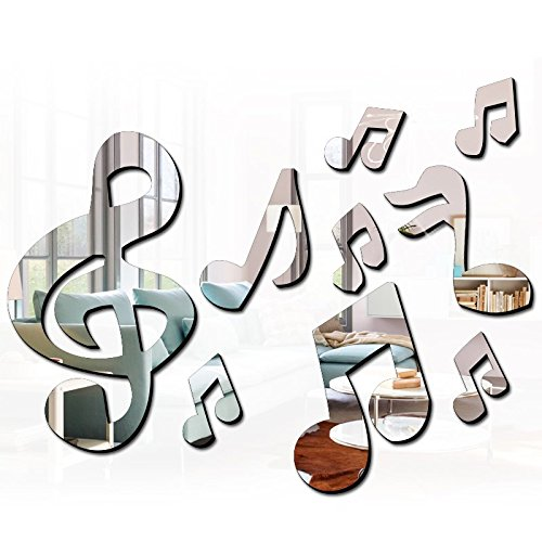 (Ximei Modern Acrylic Mirror Music Note Home Decoration DIY Art Sticker Wall Decals for Bedroom Living)