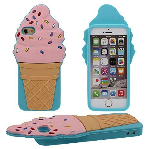 Souple iPhone 7 Plus Coque de Protection, Doux Silicone gel Plastique Beau Coloré 3D Rose Crème glacée Forme Housse de protection Case Cover pour Apple iPhone 7 Plus 5.5 inch