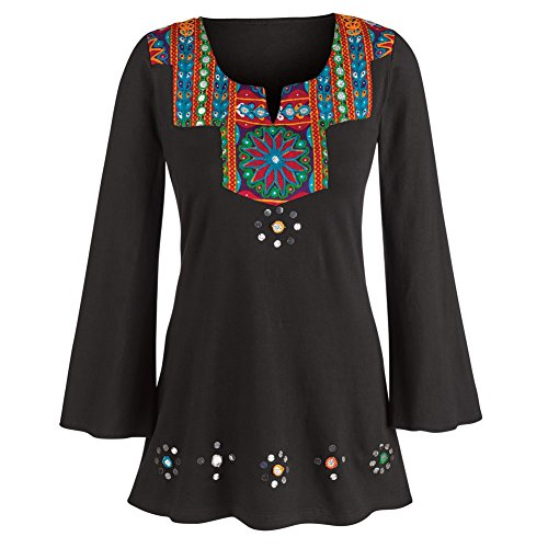 Women's Tunic Top - Festive Black Embroidered Bell Sleeve Knit Blouse - 1X