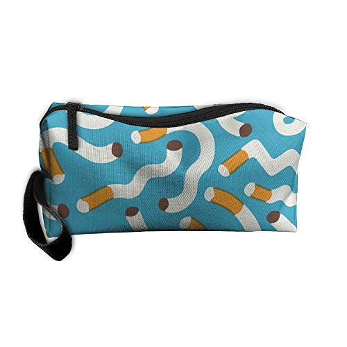 FRTSFLEE Cigarette Pattern Blue Pencil Case Travel Toiletry Bag Receive Bag Pencil Bag Durable Pouch Zipper Big Capacity Trave Makeup Organizer Bag ()