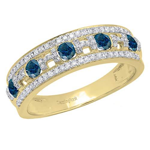 18k Diamond Setting Ring - Dazzlingrock Collection 1.04 Carat (ctw) 18K Round Blue & White Diamond Ladies Wedding Band 1 CT, Yellow Gold, Size 6