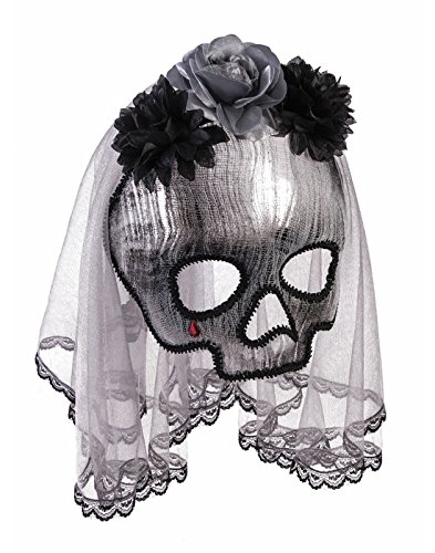 Forum Novelties Party Supplies Unisex-Adults Ghostly Spirit Half Mask W/Vei, Black, Standard, Multi -