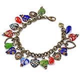 Rainbow Millefiori Glass Murano and Crystal Hearts Adjustable Charm Bracelet