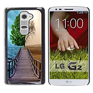 Paccase / SLIM PC / Aliminium Casa Carcasa Funda Case Cover para - Different Season Tree - LG G2 D800 D802 D802TA D803 VS980 LS980