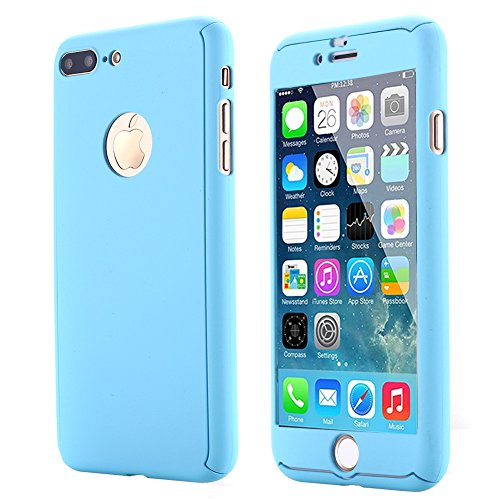 iPhone 7 Plus Case,AICase Ultra Thin Full Body Coverage Protection Soft PC [Dual Layer][Slim Fit] Case with Tempered Glass Screen Protector for iPhone 7 Plus (Light Blue)