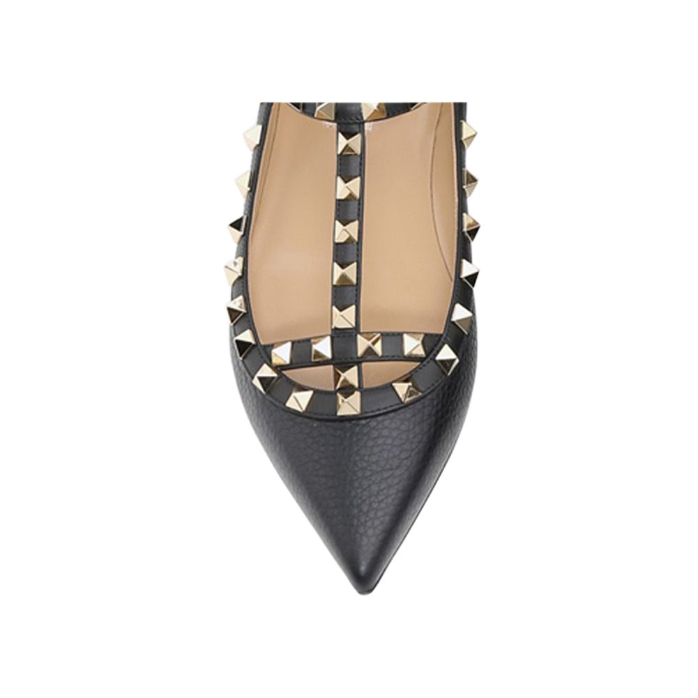 VOCOSI Women's Ankle Strap Studded Pointed Toe Pumps Rivets T-Strap Flat Pumps Dress B0794YTH1R 5.5 B(M) US|Black(pattern With Gold Rivets)