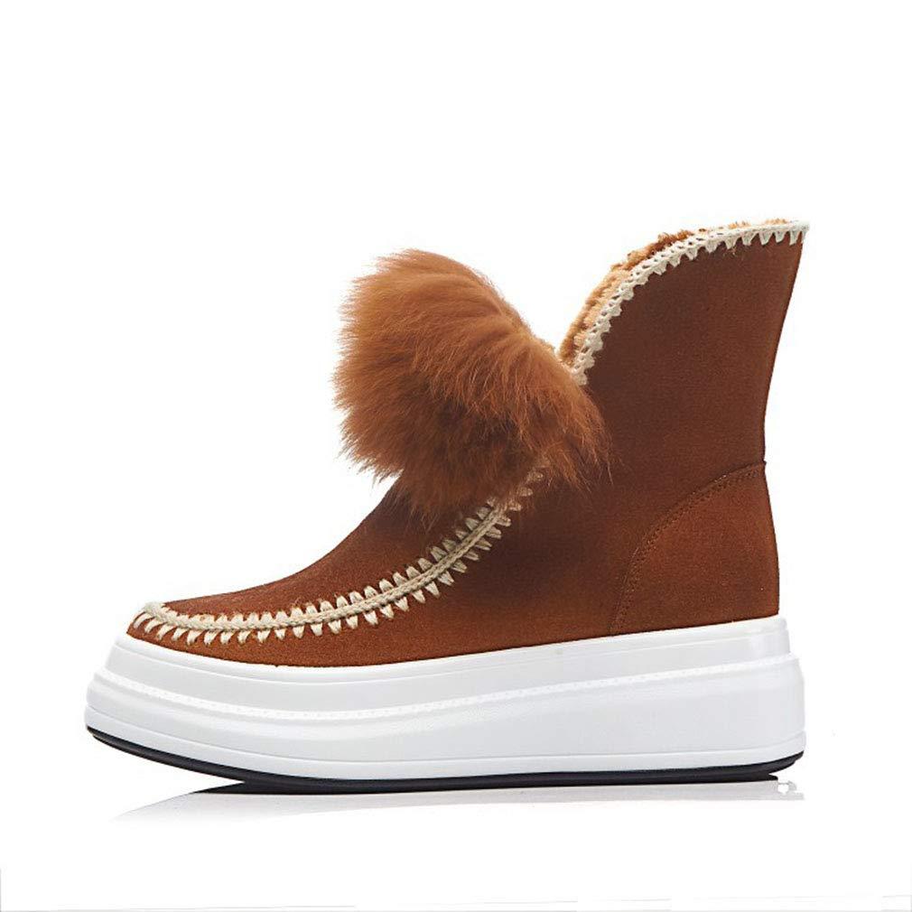 YAN Damenstiefel Wildleder Schneeschuhe Dicke warme Schuhe Plateauschuhe Mode Stiefeletten Outdoor Wanderschuhe Schwarz Braun