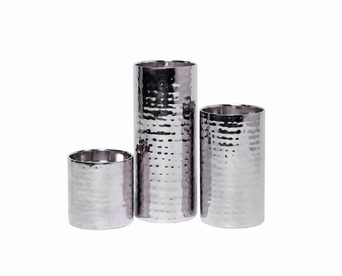 Hosley Set of 3, Pillar Candle Holders SILVER FINISH - 7'' 5'' 3'' High. Ideal GIFT For Wedding, Party, Home, SPA, Aromatherapy, Reiki, Tea Light Garden Vase/Floral LED Pillar Candles O3