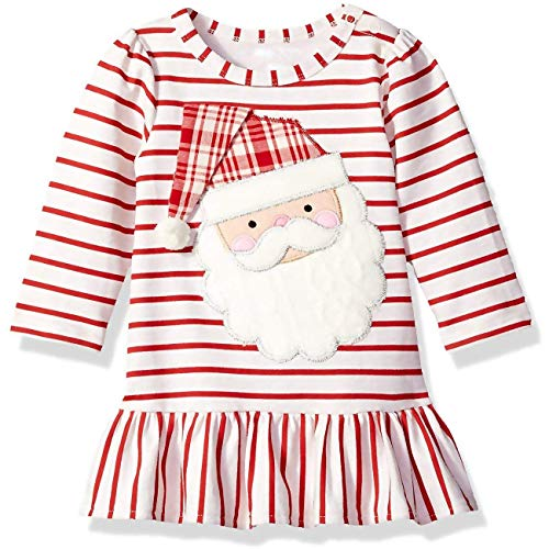 Xmas gift Toddler Baby Girls Christmas Dress Kid Newborn Girls Striped Skirt Infant Girls Santa Claus Long Sleeve Playwear (Infant Girls Santa Claus Dress, 5-6 Years)]()