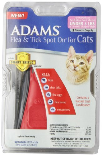 Adams Flea and Tick Spot On for Cats, Over 2.5 Pounds but Under 5 Pounds, 3 Month Supply, With Applicator (Treatment Flea Advantix Blue Dog)