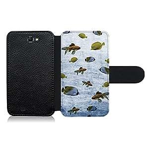 Funda carcasa de cuero para Samsung Galaxy Note 2 diseño estampado vintage peces de mar y río