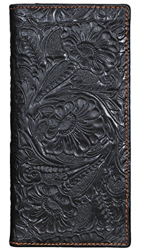Womens Ladies Genuine Leather Wallet Long Embossing Bifold Wallet Clutch Purse (Black) ()