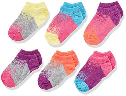 Low Cut Girls Socks - Fruit of the Loom Big Girls' No Show Socks-6 Pack, Purple/Pink/Blue/Gray/Orange/Yellow, Shoe Size 10.5-4 Medium