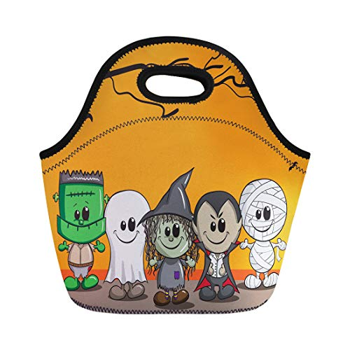 Semtomn Lunch Tote Bag Orange Cartoon Cute Halloween Frankenstein Ghost Witch Dracula Mummy Reusable Neoprene Insulated Thermal Outdoor Picnic Lunchbox for Men Women ()