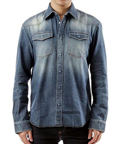 Martin Long Sleeve Denim Shirt (Wiberlux Martin Margiela Men's Vintage Stone Wash Snap-Front Denim Shirt 39 Blue)