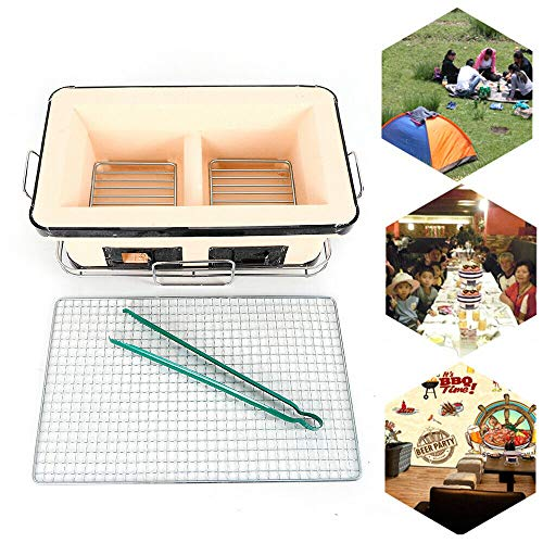 XYOUNG Large Yakatori Charcoal Grill,Barbecue Charcoal Grill, 40cm Ceramic Japanese Table Grill BBQ Portable Yakitori Barbecue Hibachi Hibachi Camping