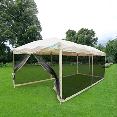 Quictent 10×20 Easy Pop up Canopy Tent Screen House with Netting Mesh Sides Walls(Tan)