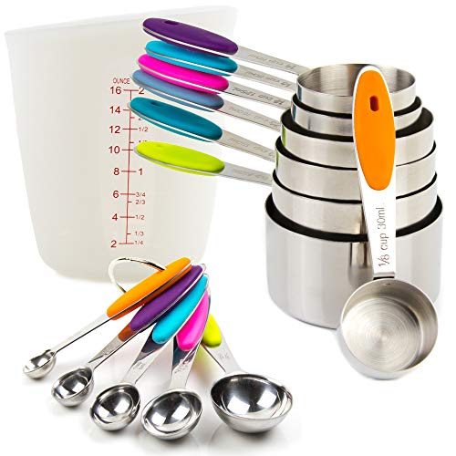 Measuring Cups and Spoons Set 13 Piece 304 Stainless Steel Measuring Cups and Spoons Set Including 7 Piece Measuring Cups and 5 Piece Measuring Spoons and 1 SILICON Measuring Cup