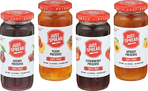 - Just Spread - 100% Fruit Preserves Variety 4-Pack (Strawberry, Cherry, Apricot, Peach)
