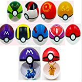 Moonideal 9 Pieces Different Style Ball +9 Pieces Figures Plastic Super Anime Figures Balls for Pokemon Kids Toys...