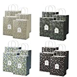 OceLander Gift Bags, Kraft Paper Gift Bags with Handles for Shopping, Birthday, Weddings and Holiday Presents Medium Size 10.5x8.25x4.3 inches. (Set of 16 Kraft Bags, 4 Designs)