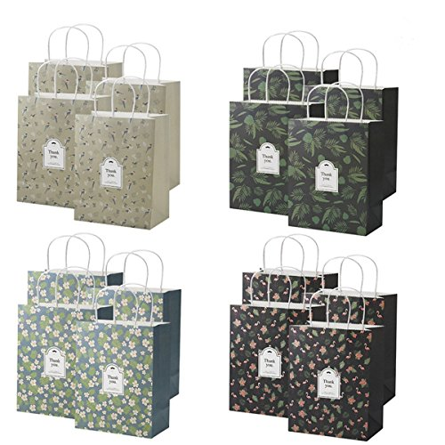 OceLander Gift Bags, Kraft Paper Gift Bags with Handles for Shopping, Birthday, Weddings and Holiday Presents Medium Size 10.5x8.25x4.3 inches. (Set of 16 Kraft Bags, 4 Designs) by OceLander (Image #7)
